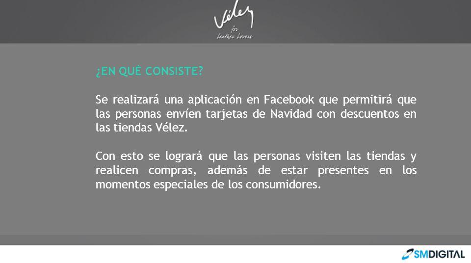 ¿EN QUÉ CONSISTE? Se realizará una aplicación en Facebook que permitirá que las personas envíen tarjetas de Navidad con descuentos en las tiendas Véle