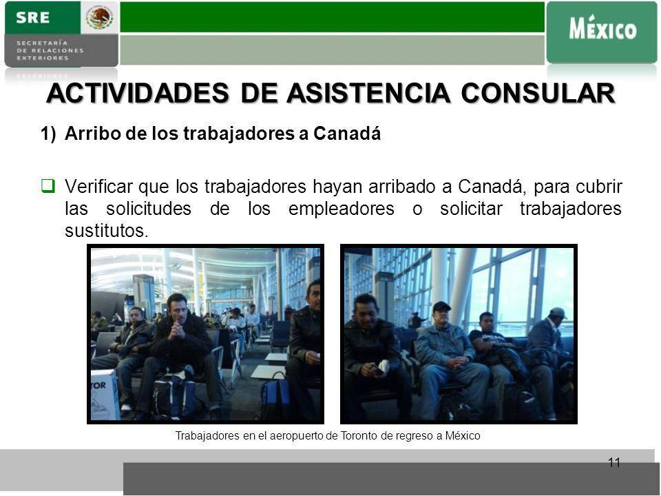 ACTIVIDADES DE ASISTENCIA CONSULAR 1)Arribo de los trabajadores a Canadá Verificar que los trabajadores hayan arribado a Canadá, para cubrir las solic
