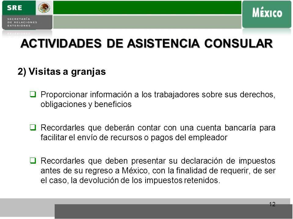 ACTIVIDADES DE ASISTENCIA CONSULAR 2)Visitas a granjas Proporcionar información a los trabajadores sobre sus derechos, obligaciones y beneficios Recor