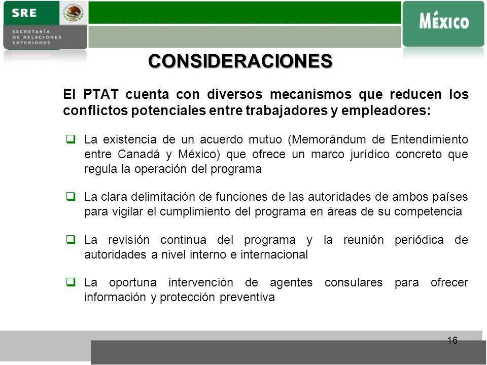 CONSIDERACIONES El PTAT cuenta con diversos mecanismos que reducen los conflictos potenciales entre trabajadores y empleadores: La existencia de un ac