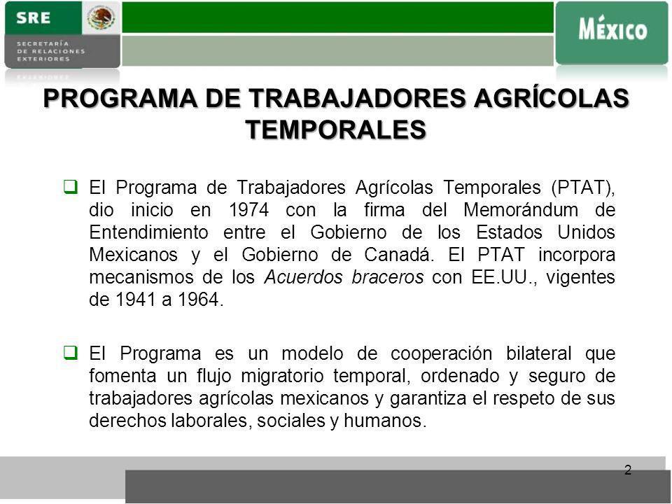 PROGRAMA DE TRABAJADORES AGRÍCOLAS TEMPORALES El Programa de Trabajadores Agrícolas Temporales (PTAT), dio inicio en 1974 con la firma del Memorándum