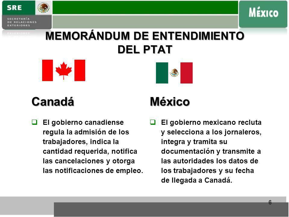 MEMORÁNDUM DE ENTENDIMIENTO DEL PTAT 6Canadá El gobierno canadiense regula la admisión de los trabajadores, indica la cantidad requerida, notifica las