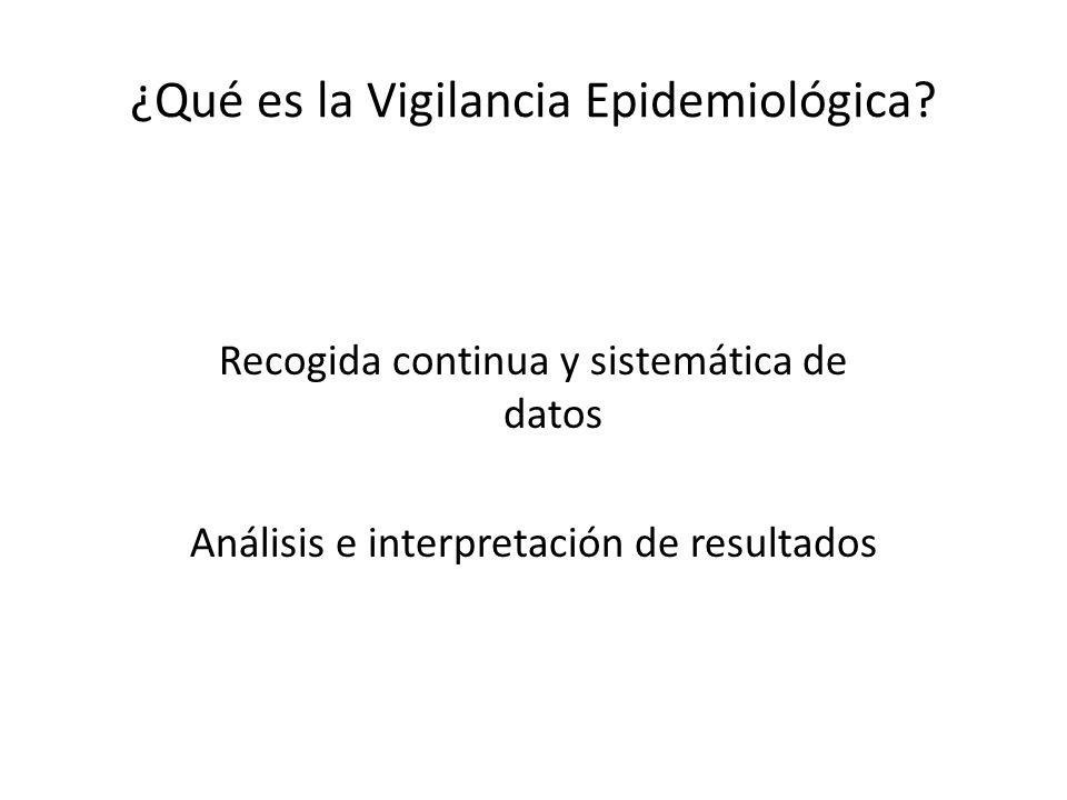 ¿Qué es la Vigilancia Epidemiológica? Recogida continua y sistemática de datos Análisis e interpretación de resultados