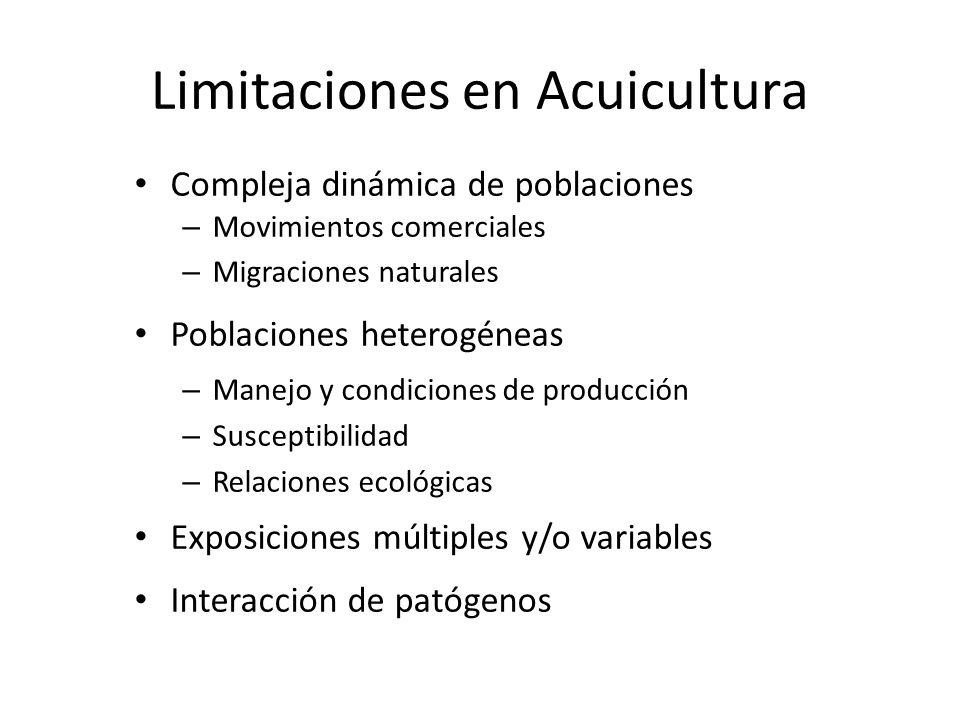 Limitaciones en Acuicultura Compleja dinámica de poblaciones – Movimientos comerciales – Migraciones naturales Poblaciones heterogéneas – Manejo y con