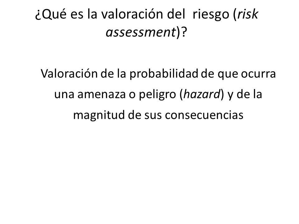 ¿Qué es la valoración del riesgo (risk assessment)? Valoración de la probabilidad de que ocurra una amenaza o peligro (hazard) y de la magnitud de sus