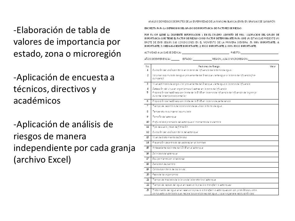 -Elaboración de tabla de valores de importancia por estado, zona o microregión -Aplicación de encuesta a técnicos, directivos y académicos -Aplicación