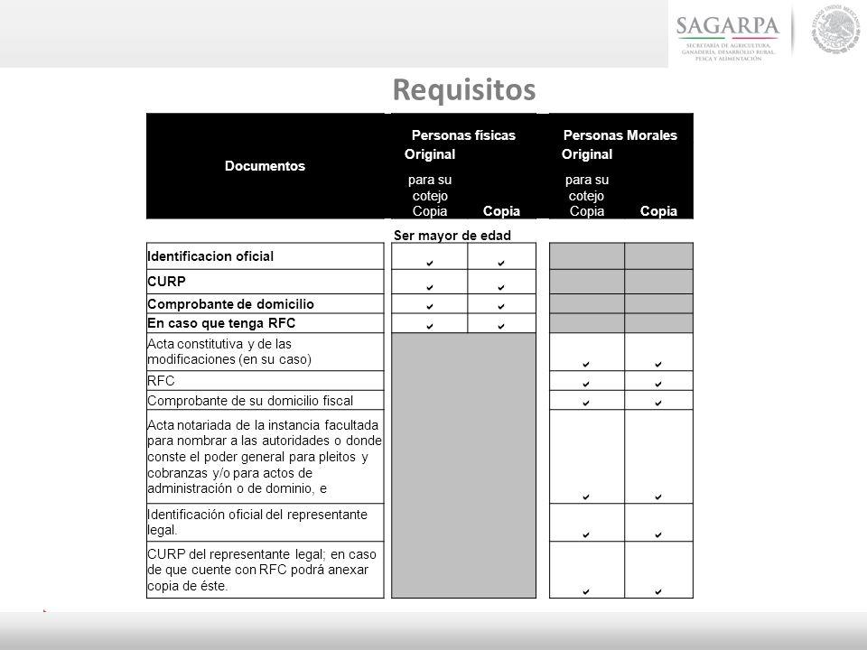 Requisitos Documentos Personas físicasPersonas Morales Original Copia Original Copia para su cotejo Copia Ser mayor de edad Identificacion oficial CUR