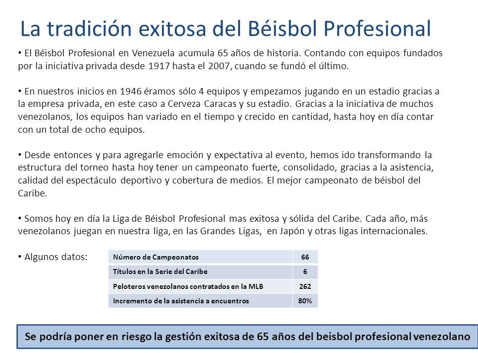 La tradición exitosa del Béisbol Profesional El Béisbol Profesional en Venezuela acumula 65 años de historia. Contando con equipos fundados por la ini