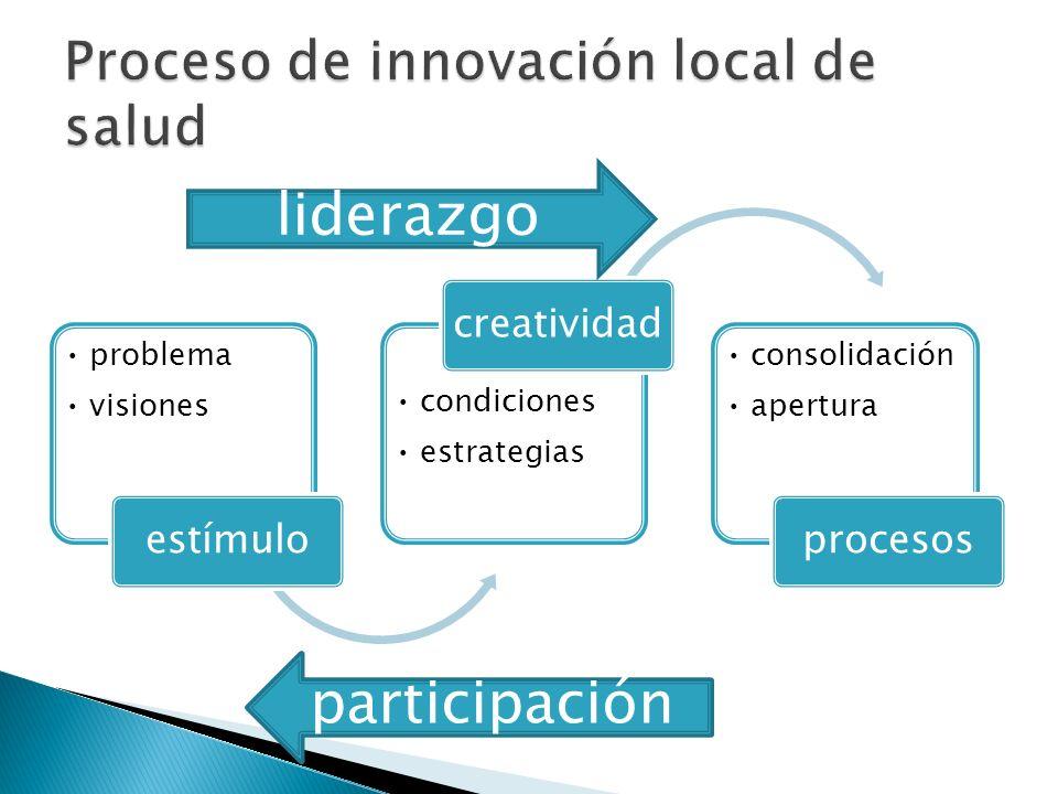 problema visiones estímulo condiciones estrategias creatividad consolidación apertura procesos liderazgo participación