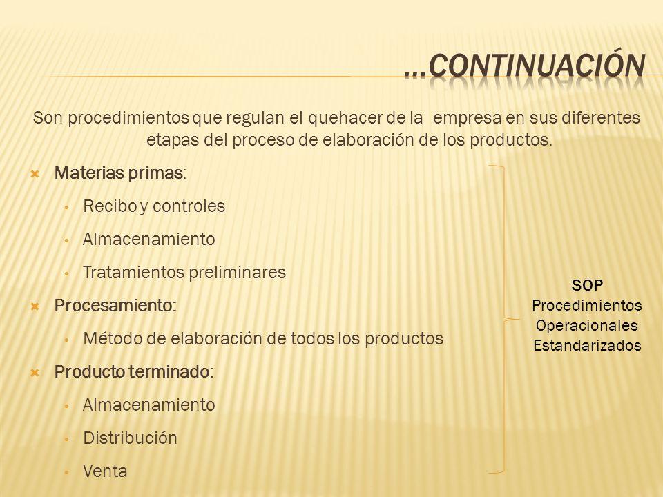 Son procedimientos que regulan el quehacer de la empresa en sus diferentes etapas del proceso de elaboración de los productos. Materias primas: Recibo
