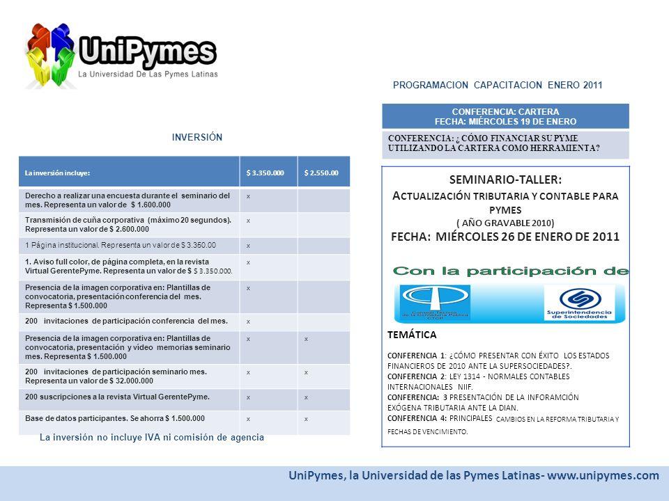 PROPUESTA UniPymes, la Universidad de las Pymes Latinas- www.unipymes.com ESPECIAL CESANTIAS Y PENSIONES Ediciones enero y febrero ESPECIAL: CESANTIAS Y PENSIONES : El 2011 traerá consigo cambios en el sistema de inversión de pensiones y cesantías y los empleados colombianos tendrán que analizar la rentabilidad que quieren para estos dineros que están bajo su nombre en los fondos privados.