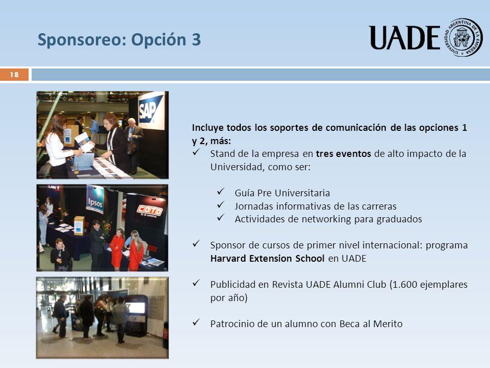 Sponsoreo: Opción 3 Incluye todos los soportes de comunicación de las opciones 1 y 2, más: Stand de la empresa en tres eventos de alto impacto de la U