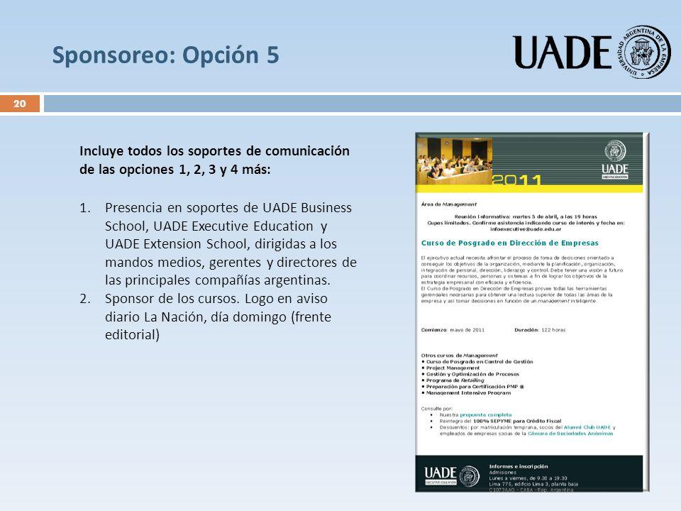 Sponsoreo: Opción 5 Incluye todos los soportes de comunicación de las opciones 1, 2, 3 y 4 más: 1.Presencia en soportes de UADE Business School, UADE