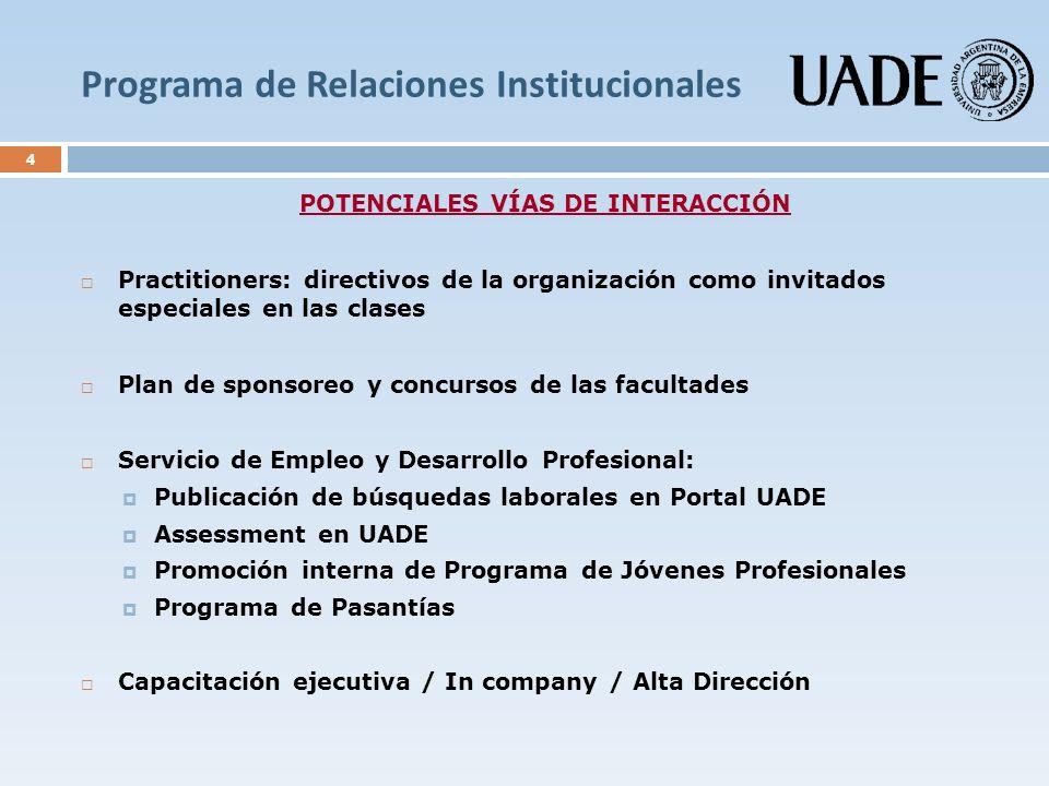 Programa de Relaciones Institucionales 4 POTENCIALES VÍAS DE INTERACCIÓN Practitioners: directivos de la organización como invitados especiales en las