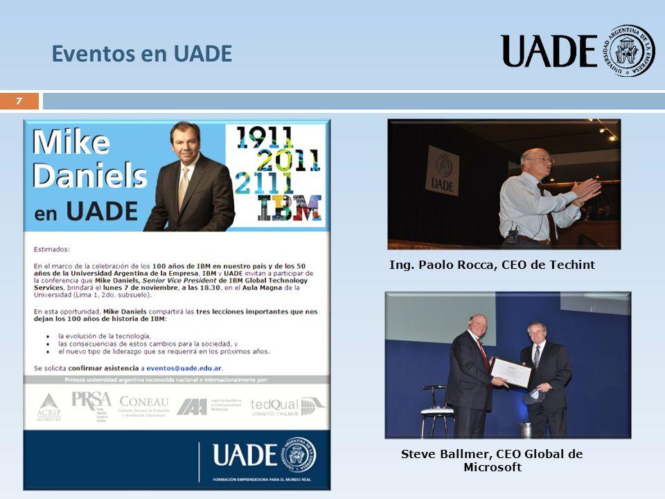 Eventos en UADE (cont.) 8 En el marco del Día del Emprendedor Porteño, el Jefe de Gobierno, Ing.