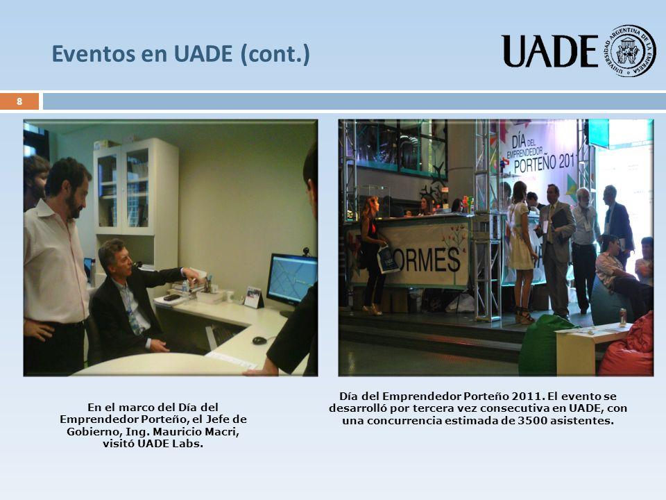 Eventos en UADE (cont.) 8 En el marco del Día del Emprendedor Porteño, el Jefe de Gobierno, Ing. Mauricio Macri, visitó UADE Labs. Día del Emprendedor
