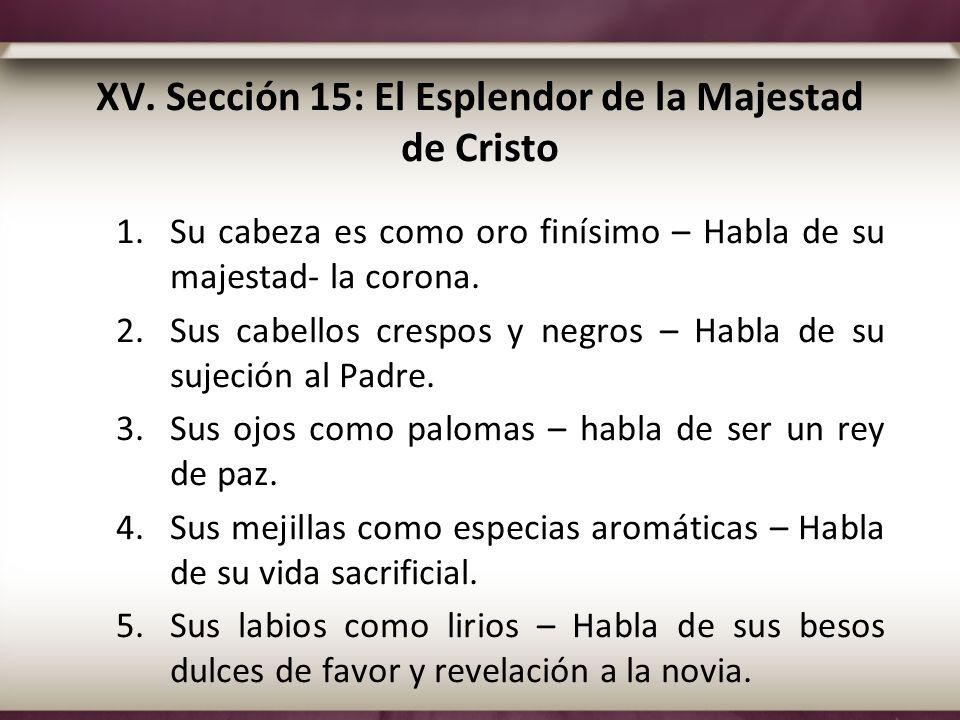 XV. Sección 15: El Esplendor de la Majestad de Cristo 1.Su cabeza es como oro finísimo – Habla de su majestad- la corona. 2.Sus cabellos crespos y neg