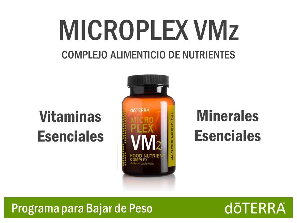 Vitaminas Esenciales Minerales Esenciales MICROPLEX VMz COMPLEJO ALIMENTICIO DE NUTRIENTES Programa para Bajar de Peso