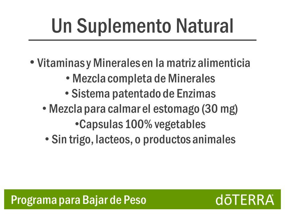 Un Suplemento Natural Vitaminas y Minerales en la matriz alimenticia Mezcla completa de Minerales Sistema patentado de Enzimas Mezcla para calmar el e