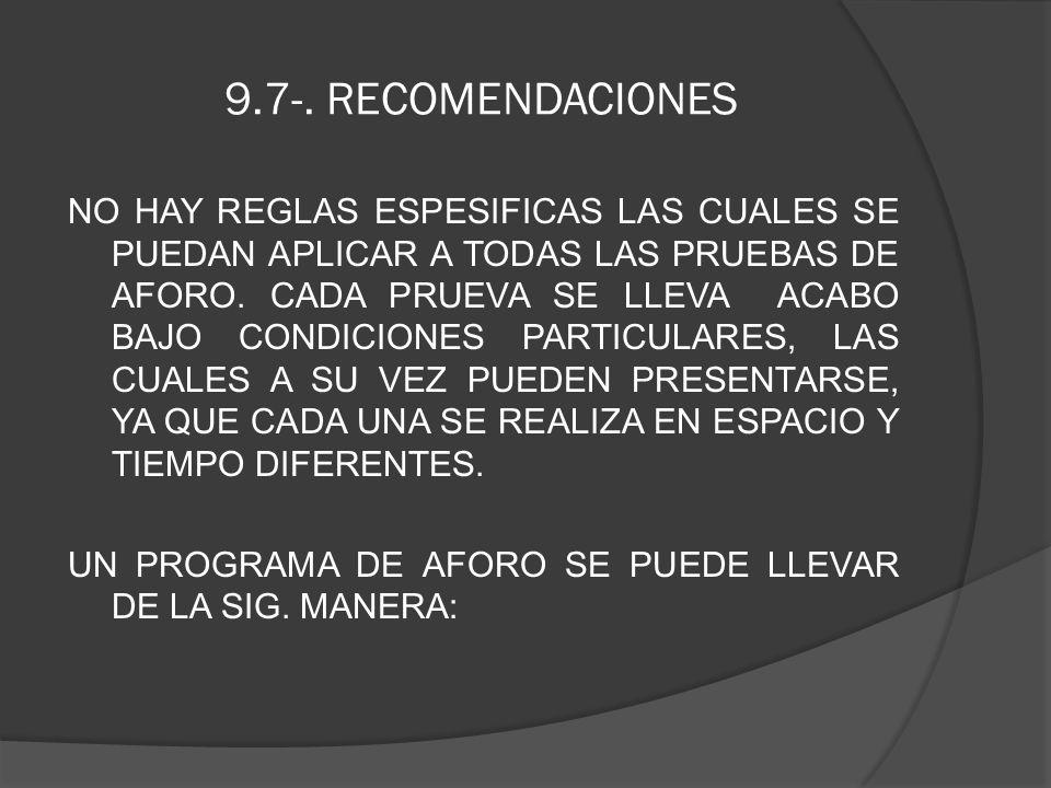 9.7-. RECOMENDACIONES NO HAY REGLAS ESPESIFICAS LAS CUALES SE PUEDAN APLICAR A TODAS LAS PRUEBAS DE AFORO. CADA PRUEVA SE LLEVA ACABO BAJO CONDICIONES