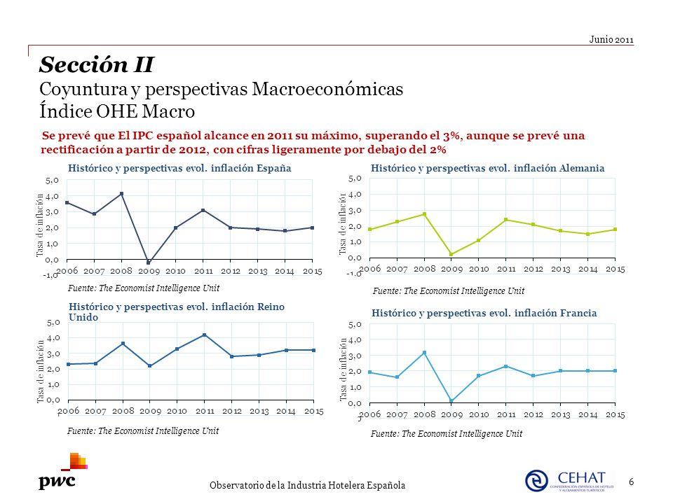 Junio 2011 Observatorio de la Industria Hotelera Española Se prevé que El IPC español alcance en 2011 su máximo, superando el 3%, aunque se prevé una