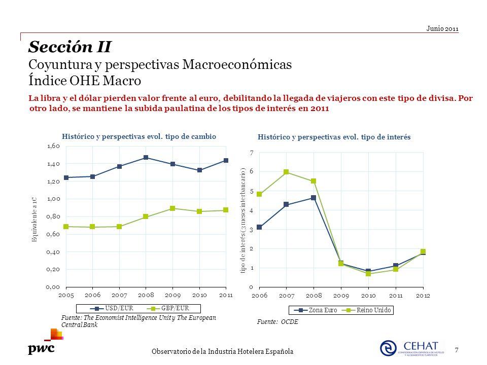7 Junio 2011 Observatorio de la Industria Hotelera Española Sección II Coyuntura y perspectivas Macroeconómicas Índice OHE Macro La libra y el dólar p