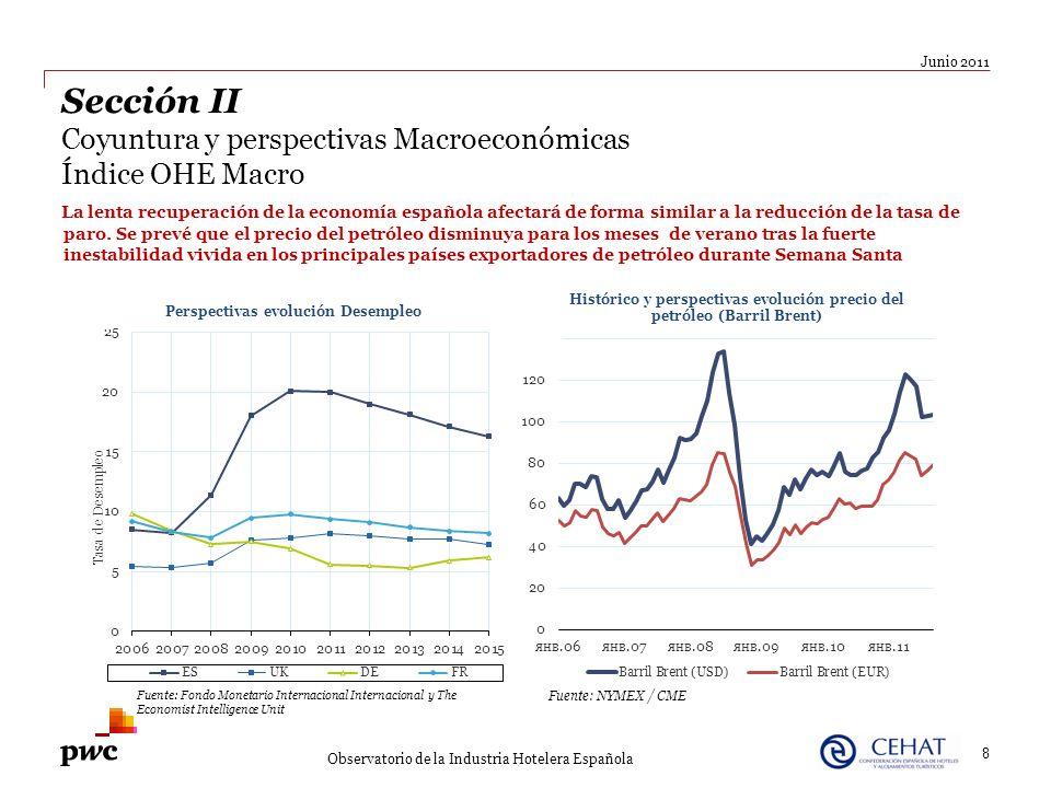 La lenta recuperación de la economía española afectará de forma similar a la reducción de la tasa de paro. Se prevé que el precio del petróleo disminu