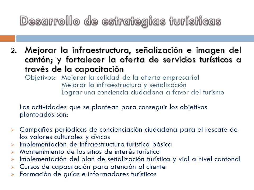 2.Mejorar la infraestructura, señalización e imagen del cantón; y fortalecer la oferta de servicios turísticos a través de la capacitación Objetivos: