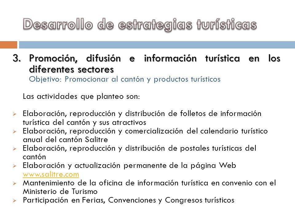 3.Promoción, difusión e información turística en los diferentes sectores Objetivo: Promocionar al cantón y productos turísticos Las actividades que pl