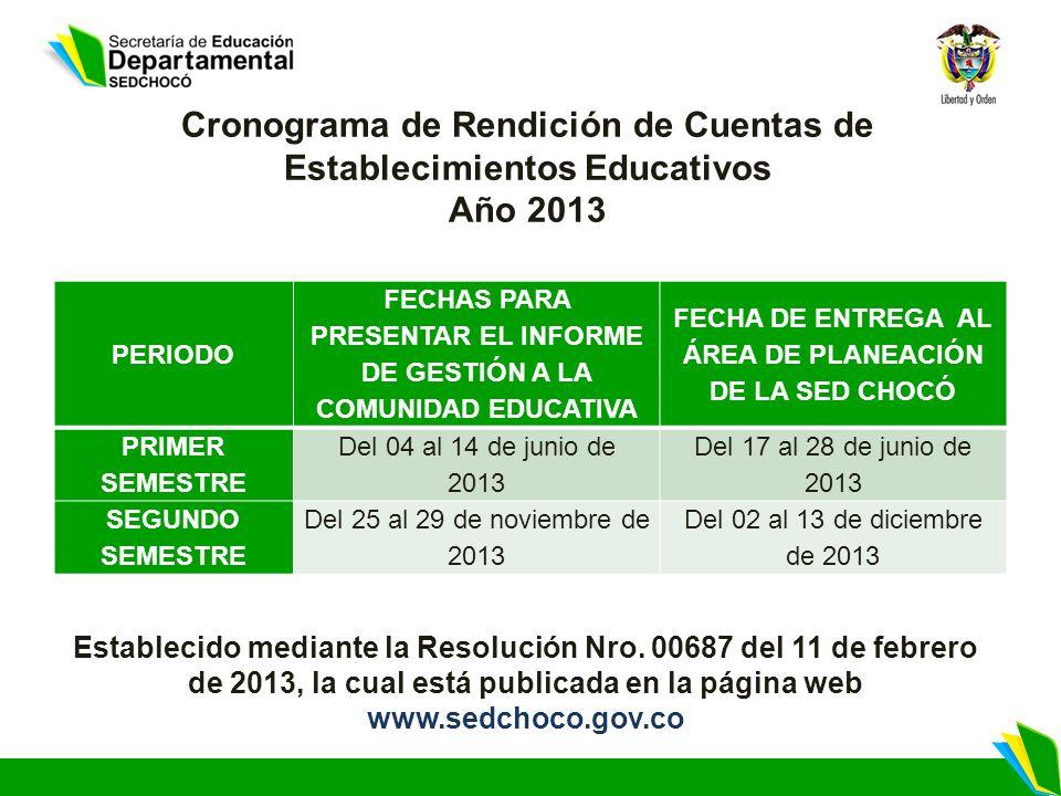 PERIODO FECHAS PARA PRESENTAR EL INFORME DE GESTIÓN A LA COMUNIDAD EDUCATIVA FECHA DE ENTREGA AL ÁREA DE PLANEACIÓN DE LA SED CHOCÓ PRIMER SEMESTRE Del 04 al 14 de junio de 2013 Del 17 al 28 de junio de 2013 SEGUNDO SEMESTRE Del 25 al 29 de noviembre de 2013 Del 02 al 13 de diciembre de 2013 Cronograma de Rendición de Cuentas de Establecimientos Educativos Año 2013 Establecido mediante la Resolución Nro.
