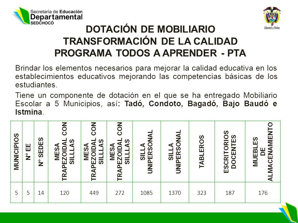 DOTACIÓN DE MOBILIARIO TRANSFORMACIÓN DE LA CALIDAD PROGRAMA TODOS A APRENDER - PTA Brindar los elementos necesarios para mejorar la calidad educativa
