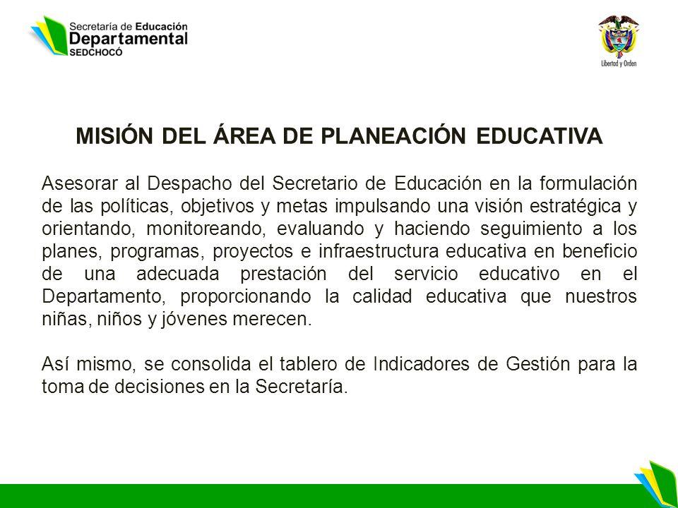 MISIÓN DEL ÁREA DE PLANEACIÓN EDUCATIVA Asesorar al Despacho del Secretario de Educación en la formulación de las políticas, objetivos y metas impulsa