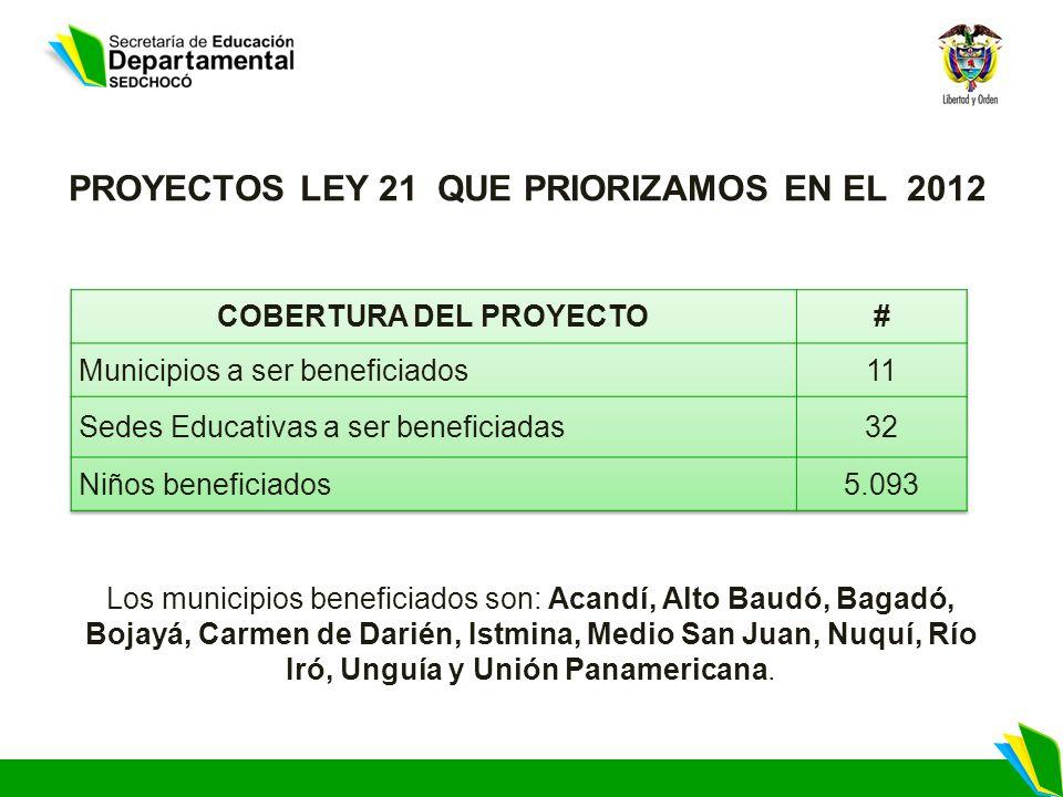 Los municipios beneficiados son: Acandí, Alto Baudó, Bagadó, Bojayá, Carmen de Darién, Istmina, Medio San Juan, Nuquí, Río Iró, Unguía y Unión Panamer