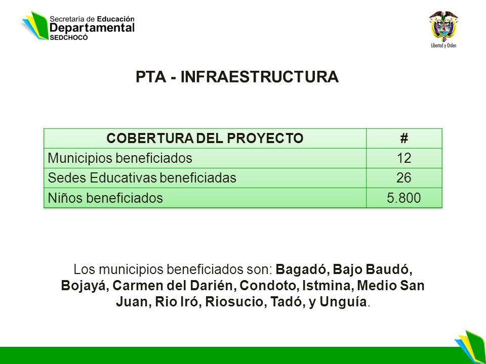 PTA - INFRAESTRUCTURA Los municipios beneficiados son: Bagadó, Bajo Baudó, Bojayá, Carmen del Darién, Condoto, Istmina, Medio San Juan, Rio Iró, Riosucio, Tadó, y Unguía.