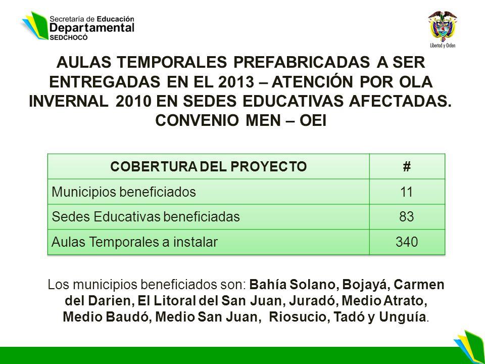 Los municipios beneficiados son: Bahía Solano, Bojayá, Carmen del Darien, El Litoral del San Juan, Juradó, Medio Atrato, Medio Baudó, Medio San Juan, Riosucio, Tadó y Unguía.