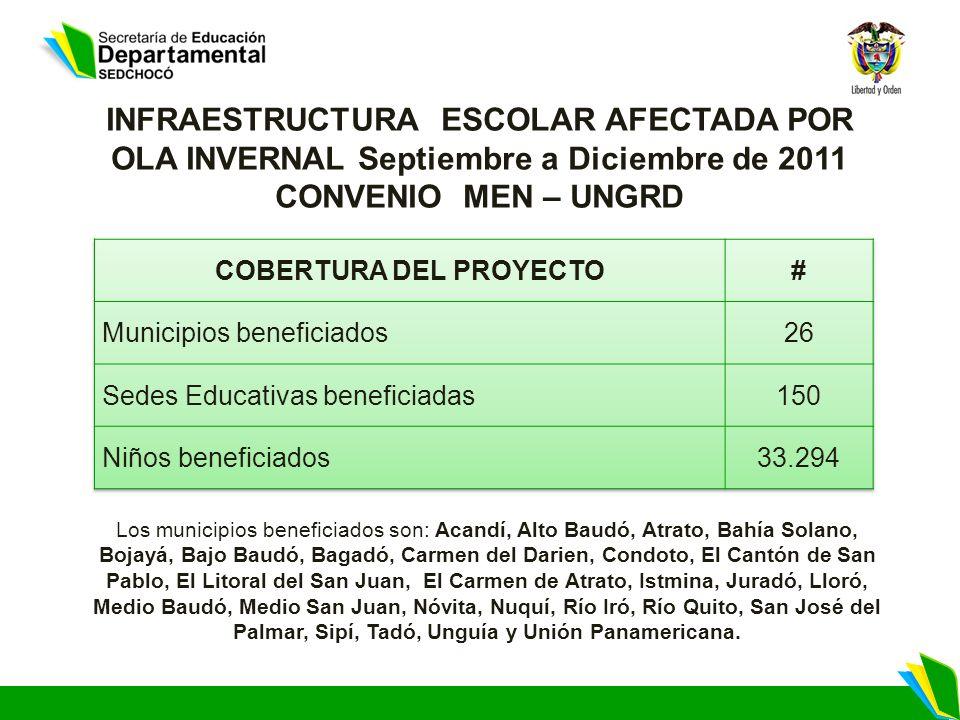 Los municipios beneficiados son: Acandí, Alto Baudó, Atrato, Bahía Solano, Bojayá, Bajo Baudó, Bagadó, Carmen del Darien, Condoto, El Cantón de San Pa