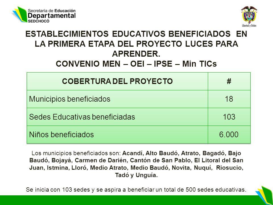 Los municipios beneficiados son: Acandí, Alto Baudó, Atrato, Bagadó, Bajo Baudó, Bojayá, Carmen de Darién, Cantón de San Pablo, El Litoral del San Jua