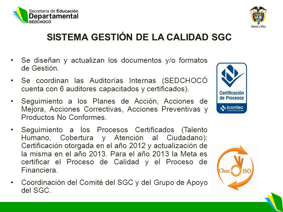 SISTEMA GESTIÓN DE LA CALIDAD SGC Se diseñan y actualizan los documentos y/o formatos de Gestión. Se coordinan las Auditorías Internas (SEDCHOCÓ cuent