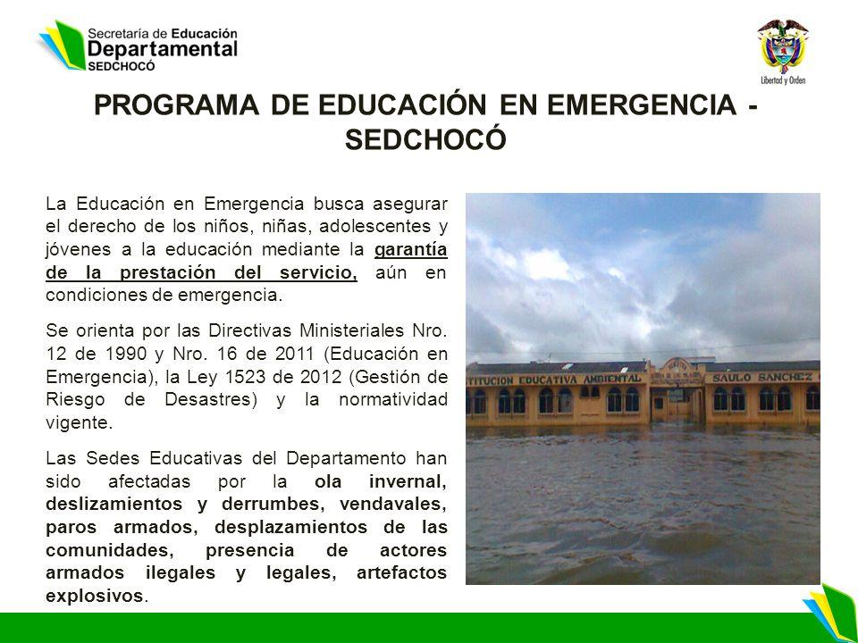 La Educación en Emergencia busca asegurar el derecho de los niños, niñas, adolescentes y jóvenes a la educación mediante la garantía de la prestación del servicio, aún en condiciones de emergencia.