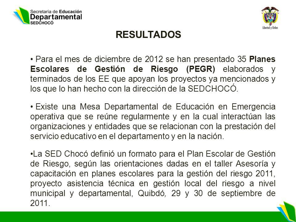 Para el mes de diciembre de 2012 se han presentado 35 Planes Escolares de Gestión de Riesgo (PEGR) elaborados y terminados de los EE que apoyan los proyectos ya mencionados y los que lo han hecho con la dirección de la SEDCHOCÓ.