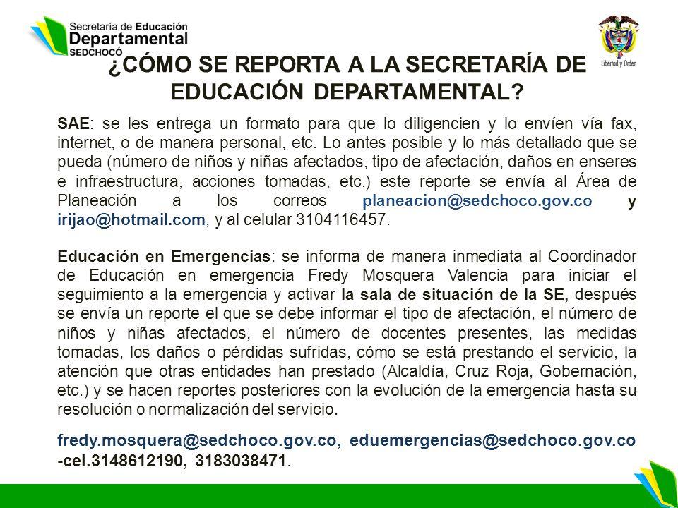 ¿CÓMO SE REPORTA A LA SECRETARÍA DE EDUCACIÓN DEPARTAMENTAL.