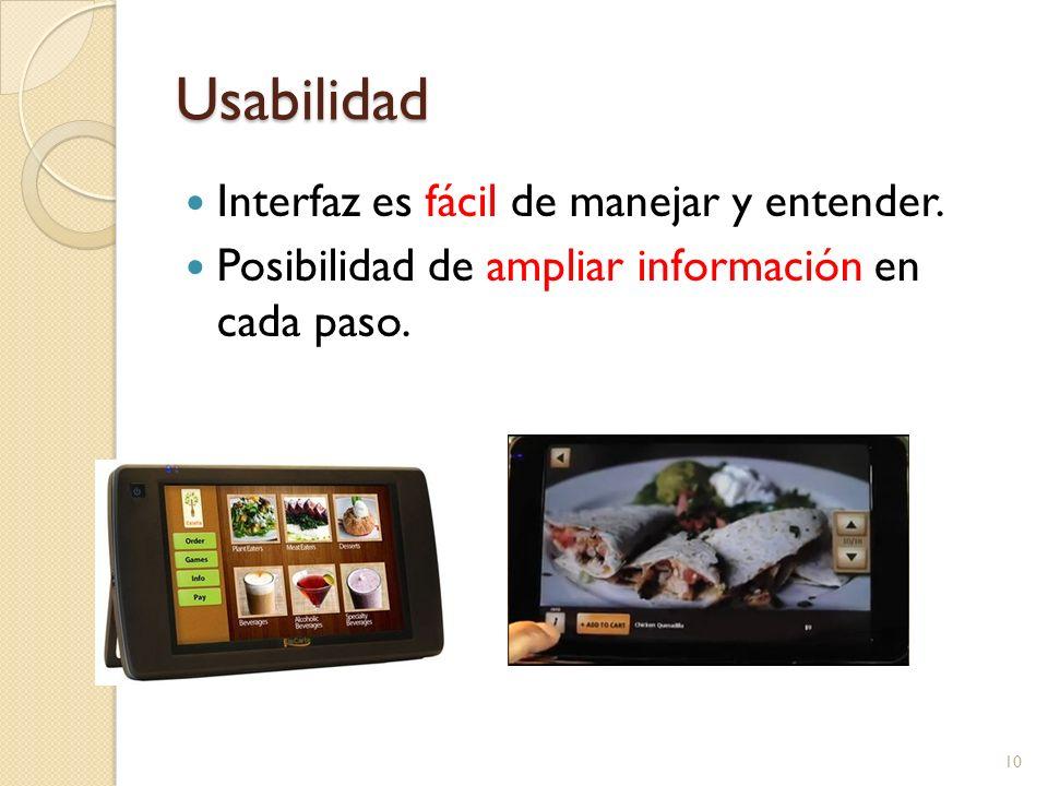 Usabilidad Interfaz es fácil de manejar y entender. Posibilidad de ampliar información en cada paso. 10