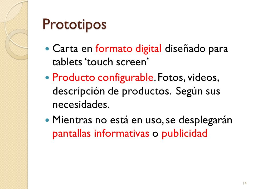 Prototipos 14 Carta en formato digital diseñado para tablets touch screen Producto configurable.