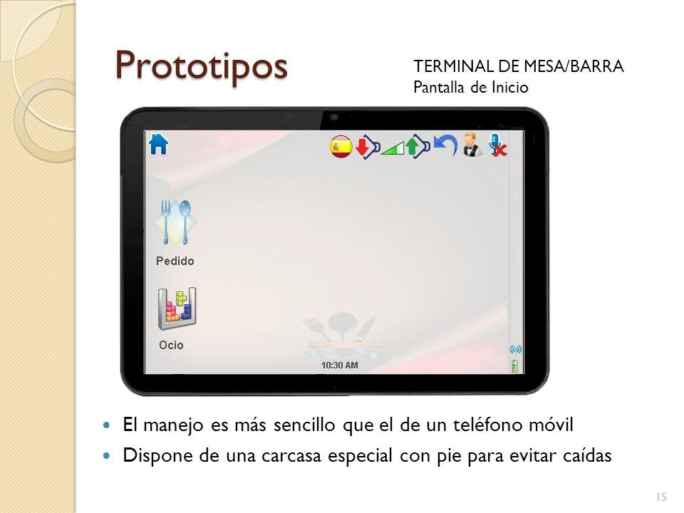 Prototipos TERMINAL DE MESA/BARRA Pantalla de Inicio 15 El manejo es más sencillo que el de un teléfono móvil Dispone de una carcasa especial con pie