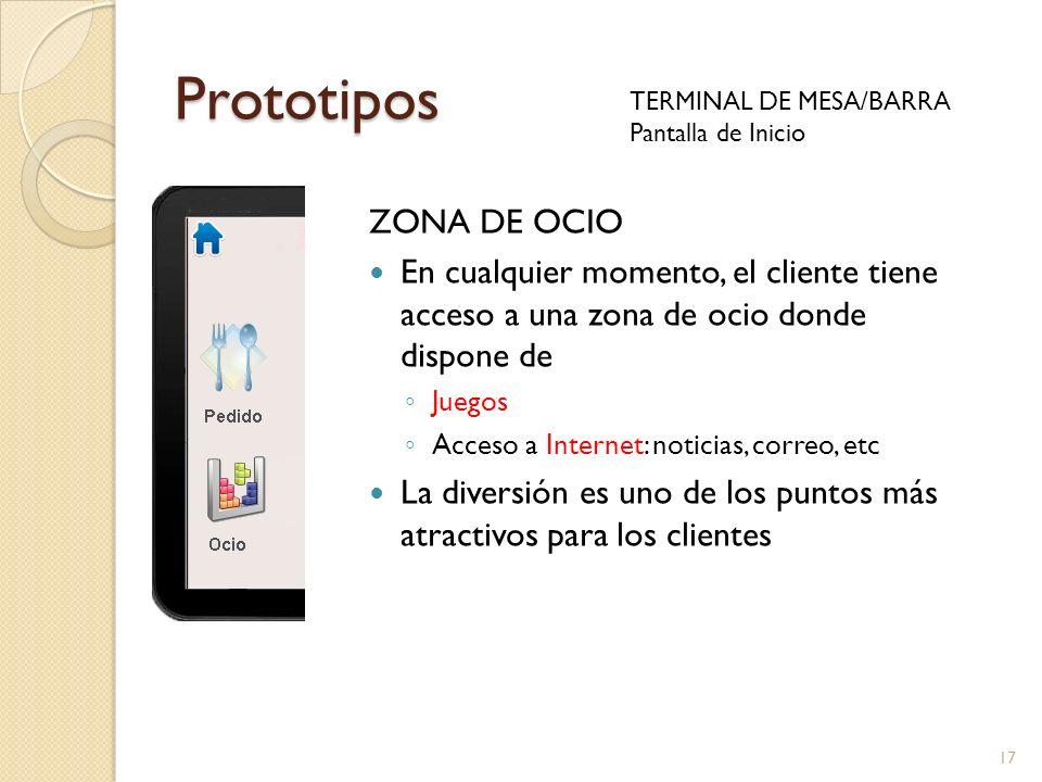 17 Prototipos TERMINAL DE MESA/BARRA Pantalla de Inicio ZONA DE OCIO En cualquier momento, el cliente tiene acceso a una zona de ocio donde dispone de
