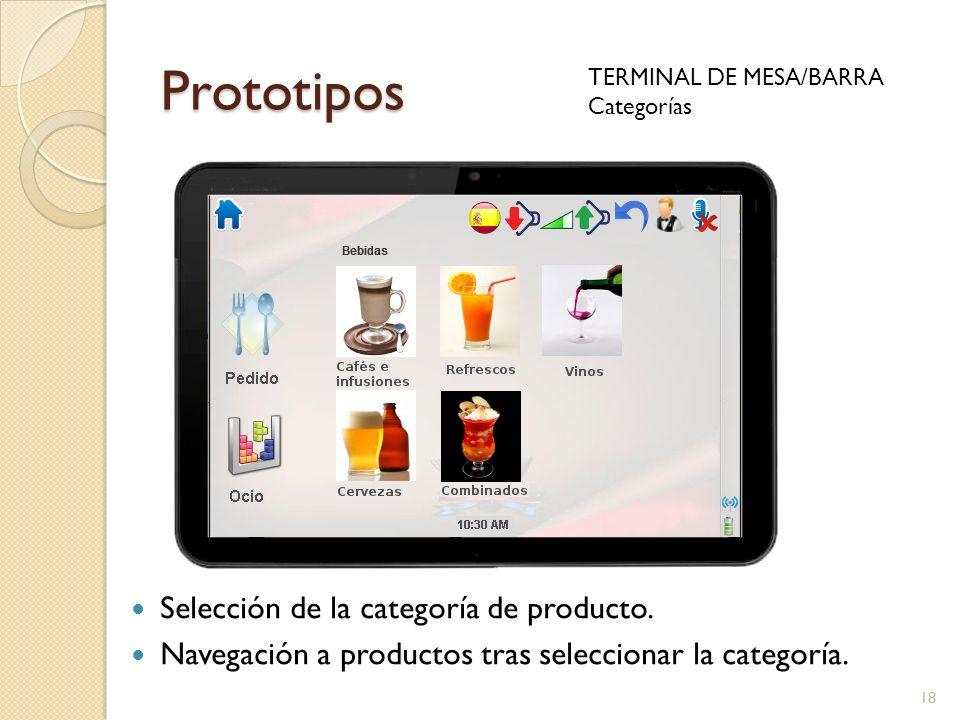 Prototipos TERMINAL DE MESA/BARRA Categorías 18 Selección de la categoría de producto. Navegación a productos tras seleccionar la categoría.