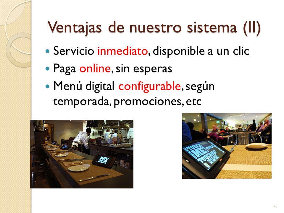 Servicio inmediato, disponible a un clic Paga online, sin esperas Menú digital configurable, según temporada, promociones, etc 6 Ventajas de nuestro s
