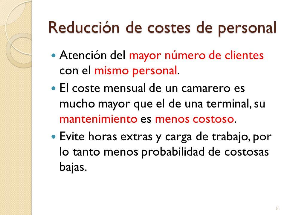 Reducción de costes de personal Atención del mayor número de clientes con el mismo personal. El coste mensual de un camarero es mucho mayor que el de