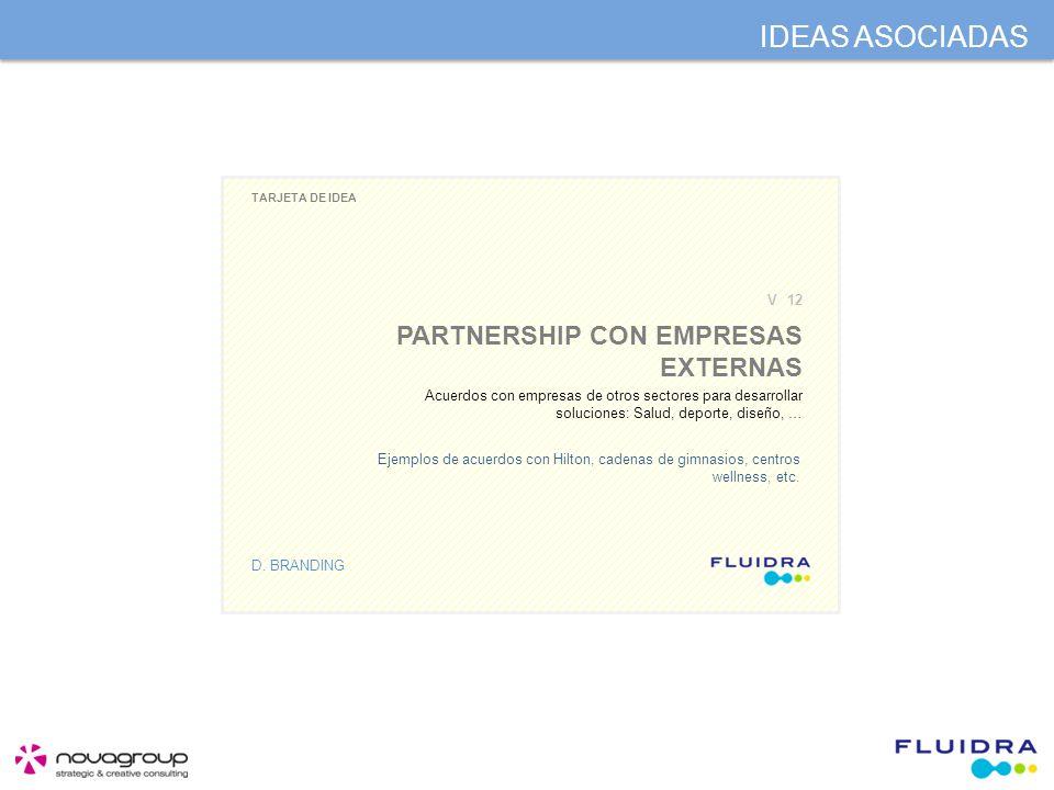 IDEAS ASOCIADAS TARJETA DE IDEA D. BRANDING PARTNERSHIP CON EMPRESAS EXTERNAS V12 Acuerdos con empresas de otros sectores para desarrollar soluciones: