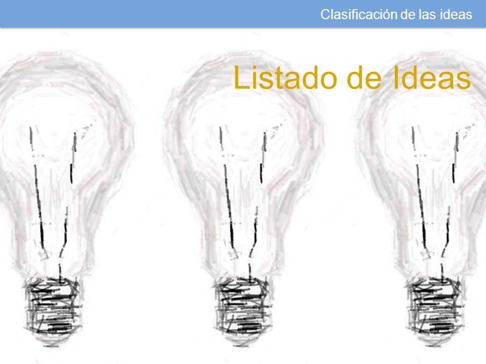 Clasificación de las ideas Listado de Ideas
